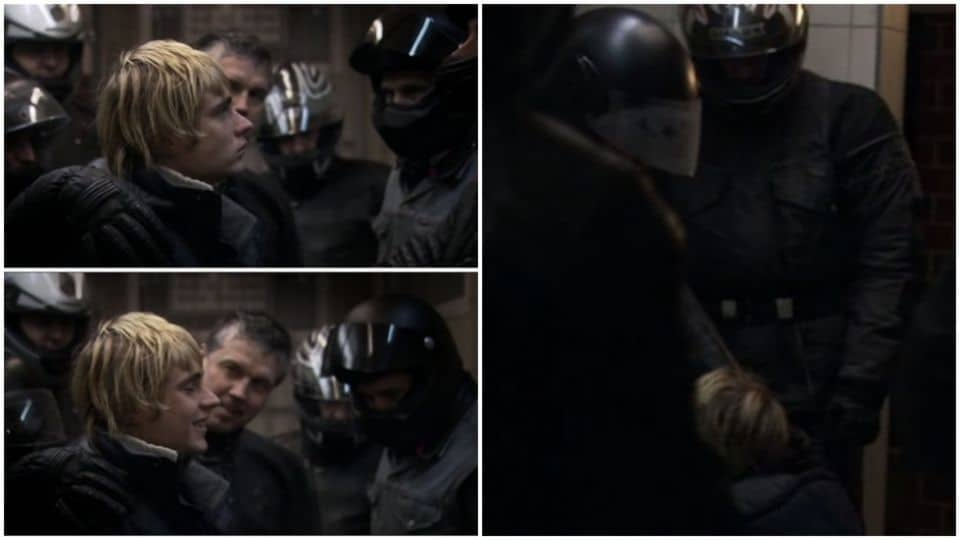 Armin Steeb, alias Constantin Van Jascheroff, entouré de motards dans l'imposteur