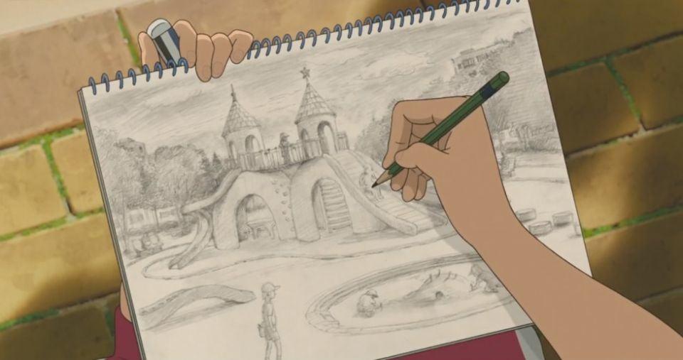 Anna dessine une plaine de jeu