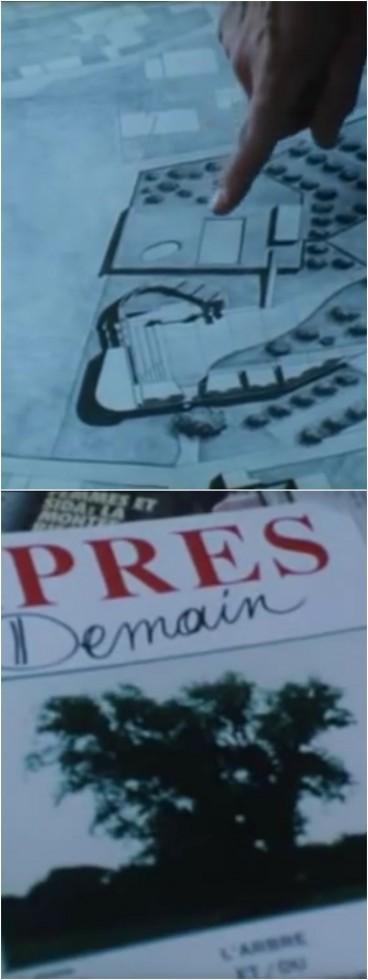 Plan de la médiathèque et arbre en une de magazine dans un film de Eric Rohmer