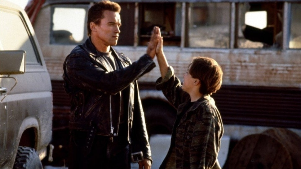 Arnold Schwarzenegger et Edward Furlong