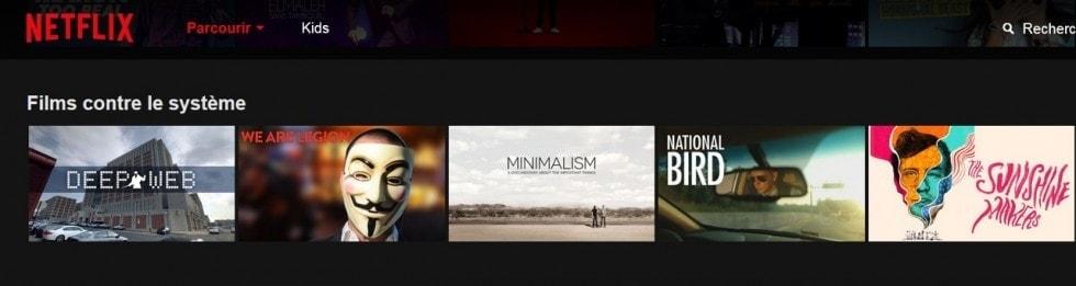 Liste de la catégorie Netflix contre le système