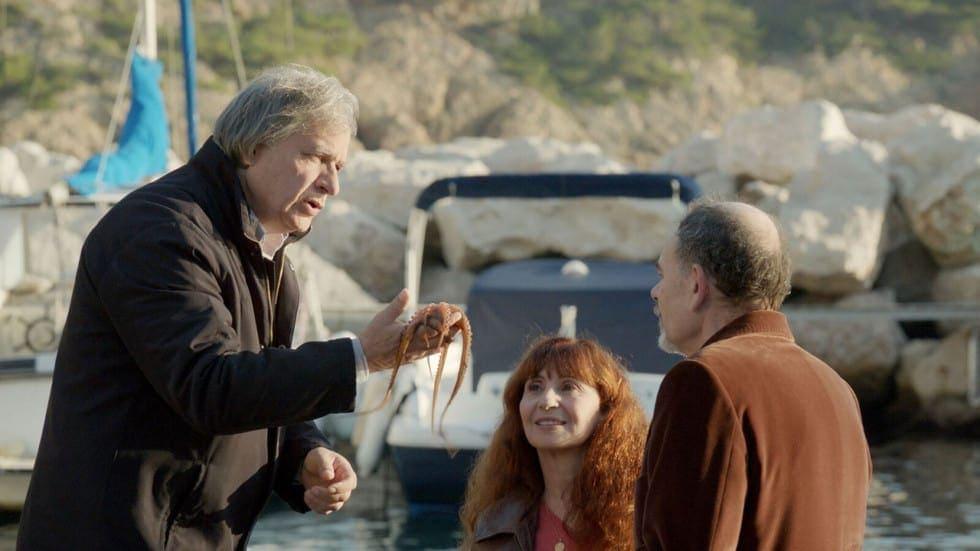 Ascaride, Darroussin et Meylan dans la scène du Poulpe de La Villa de Robert Guédiguian