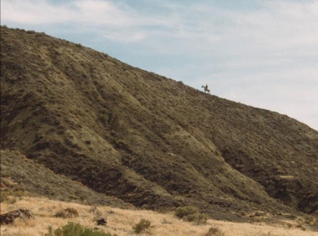 Cheval sur une crête dans le désert de La Dernière Piste