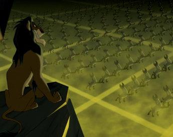 Scar et les hyènes dans Le Roi Lion