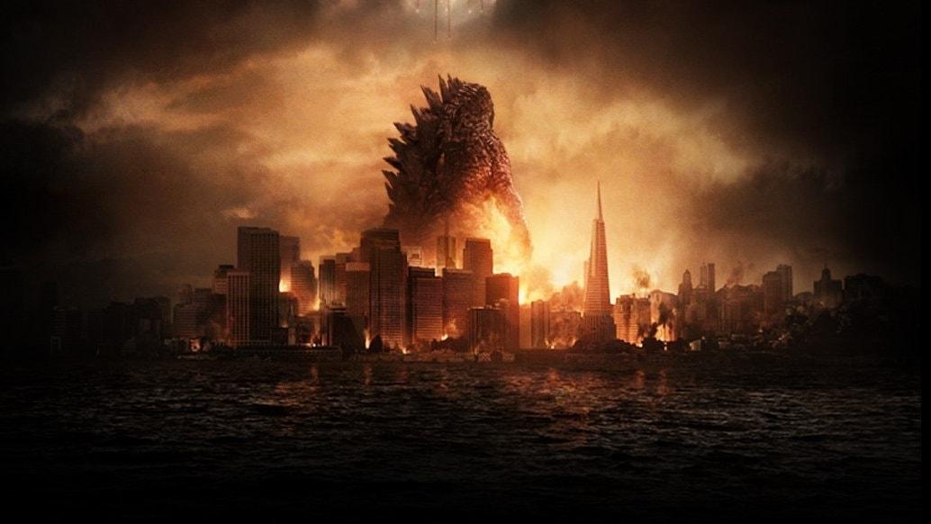 Godzilla au milieu des ruines dans le film Gareth Edwards