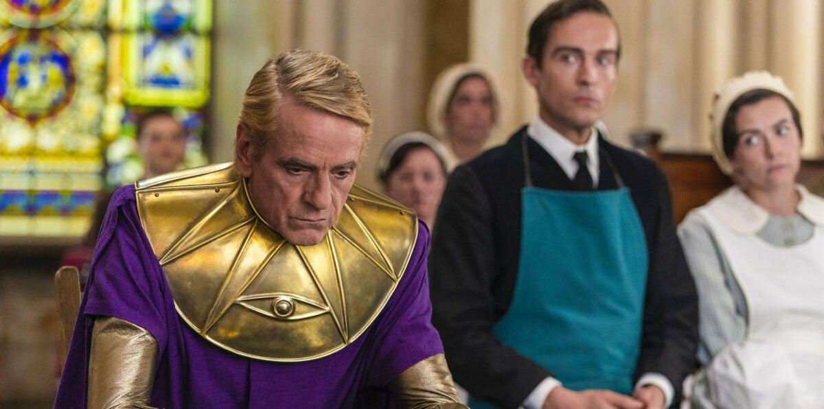 Adrian Veidt (Jérémy Irons) et ses clones dans la série Watchmen